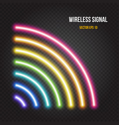 Glowing neon lights wireless signal symbol in vector