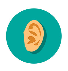 Human ear icon with shadow in flat style vector