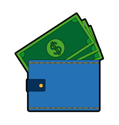 Wallet money banknote pay bank concept vector
