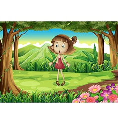 A shocked young girl in the middle of the forest vector