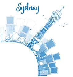 Outline sydney city skyline with skyscrapers vector
