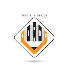 Creative pencil icon abstract logo design vector