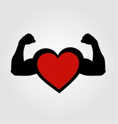 A heart with flexing muscles- healthy heart vector