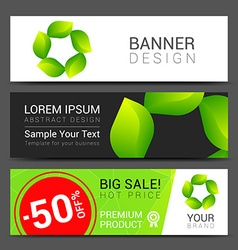 Set banners fresh green leaves spring or summer vector