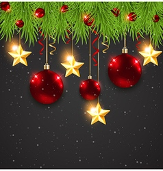 Red Christmas decorations and fir branches vector image