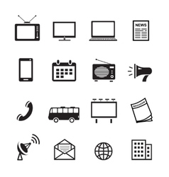 Advertising media silhouette icons marketing and vector