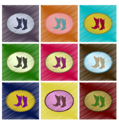 assembly flat shading style icons women boots vector image vector image