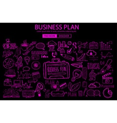 Business planning concept with doodle design style vector