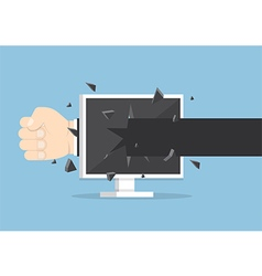 Businessman hand throw a punch through monitor vector image vector image