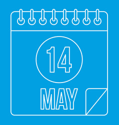 Calendar with the date 14th may icon outline style vector