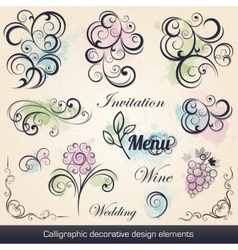 calligraphic decorative design elements vector image vector image