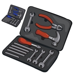 Case with working tools on white background vector image vector image
