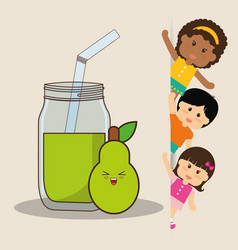 Children and pear juice fresh vector