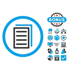 Copy document flat icon with bonus vector