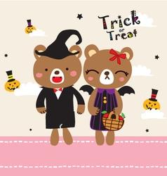 Cute doodle couple halloween vector