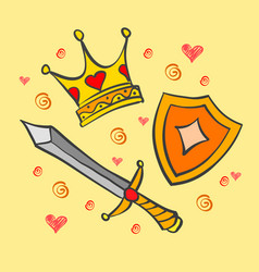 Doodle of crown and sword collection vector