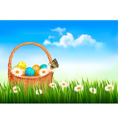 Easter background Easter eggs and flowers in a vector image vector image