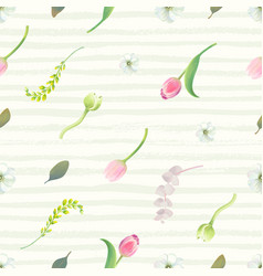 Floral seamless pattern with pink tulips flower vector