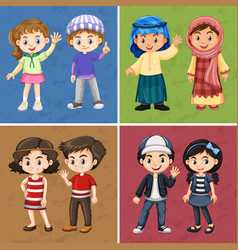 Four color backgrounds with happy children vector