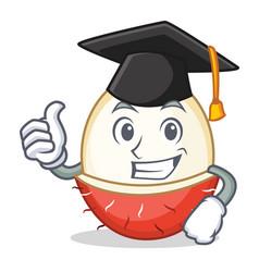 Graduation rambutan character cartoon style vector
