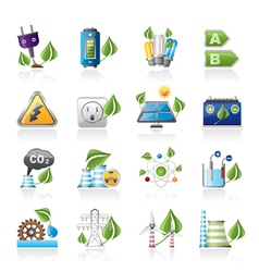 Green energy and environment icons vector