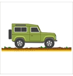 Green vintage suv car off-road 4x4 icon colored vector