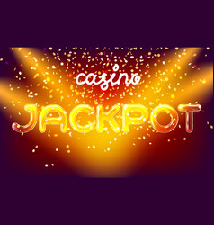 Jackpot casino win lettering stage vector