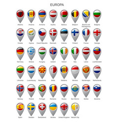 Map marker set with flags of europa vector
