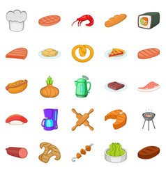 Meat delicacy icons set cartoon style vector