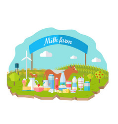 milk farm concept banner flat design vector image vector image