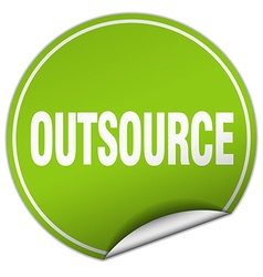 Outsource round green sticker isolated on white vector
