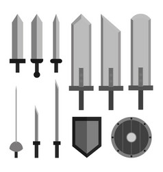Rpg weapons - swords and shields vector
