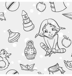 Seamless texture of childrens toys for the girls vector image