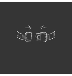 Seat belt drawn in chalk icon vector