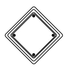 silhouette diamond shape traffic sign icon vector image