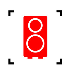 speaker sign red icon inside vector image
