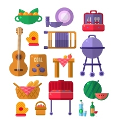 Things needed for barbeque party vector