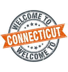 Welcome to connecticut orange round ribbon stamp vector