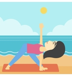 Woman practicing yoga triangle pose on the beach vector