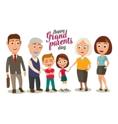 Happy family parents grandparents and childs vector
