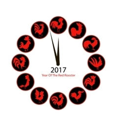 Rooster clock symbol of 2017 new year vector image