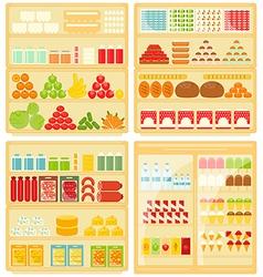 Set of shop and supermarket shelves vector