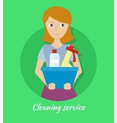 Member of the cleaning service with glass cleaner vector