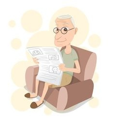 Old man reading on sofa vector