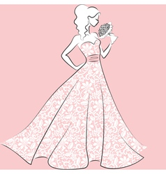 Bride in lace wedding dress vector