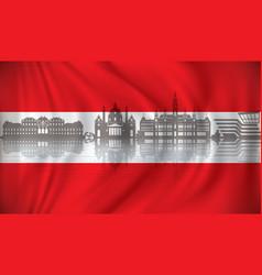 flag of austria with vienna skyline vector image