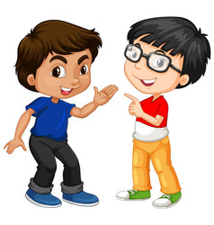 Two boy characters with happy face vector