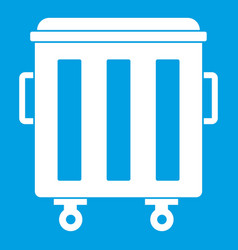Metal trashcan icon white vector