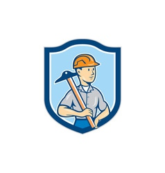 Engineer architect t-square shield cartoon vector
