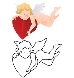 Cartoon angel color and outline vector
